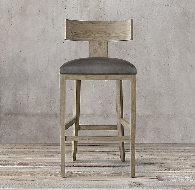 Contemporary Klismos Leather Stool Leather Stool Counter Stools