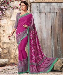 Rani Pink Color Crepe Casual Function Sarees : Karnika Collection  YF-40741