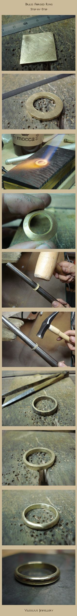 su una lastra di spessore a scelta (2mm è un'ottima misura) :  - disegnare - tagliare - ricuocere - imbutire - allargare la parte centrale - limare/arrotondare i bordi - levigare - lucidare