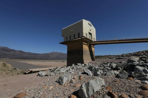 Water levels are seen at about 24 percent full at Voelvlei Dam, one of the regions largest water catchment dams, near Cape Town, South Africa, November 8, 2017.