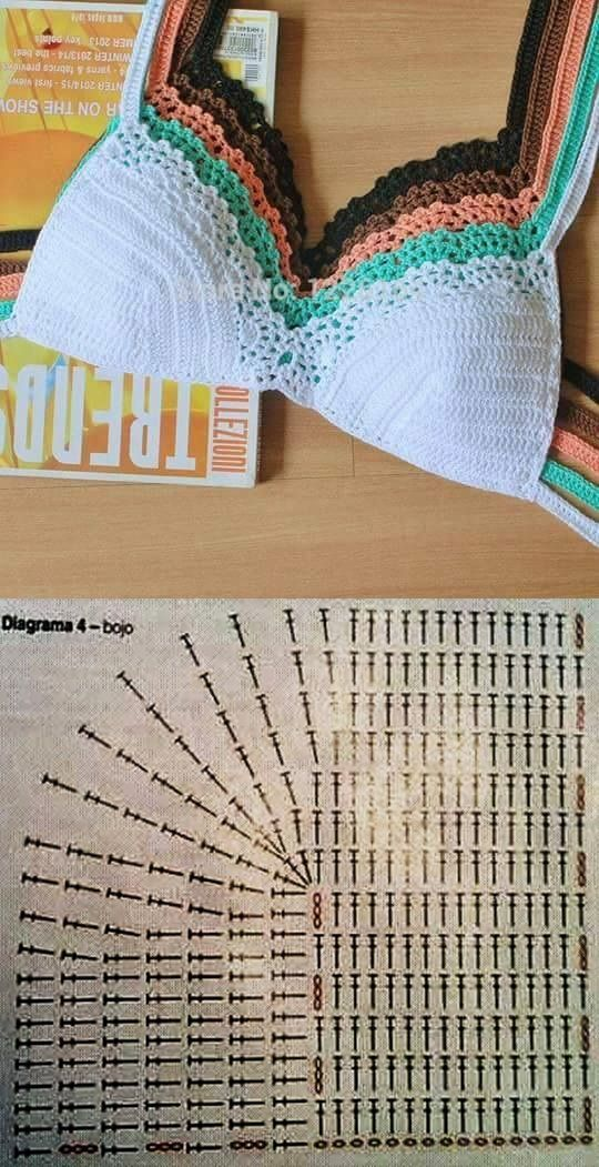 These #crochet bikini tops are so cute! Start the symbol chart at the bottom right edge where you see chain stitches.
