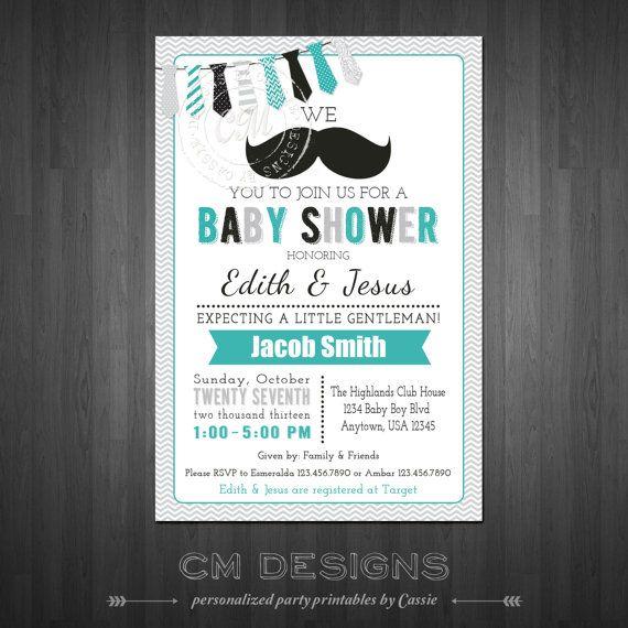 Mustache Baby Shower Invite by DesignsbyCassieCM on Etsy