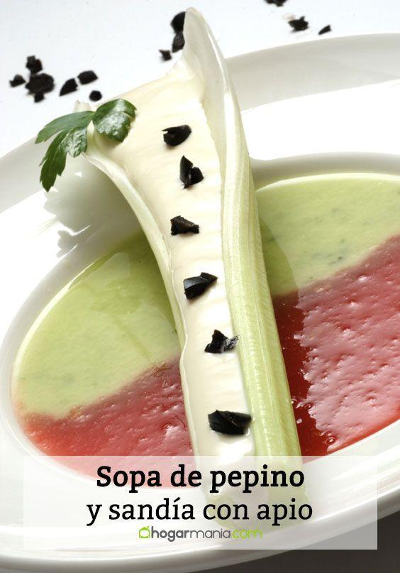 Karlos Arguiñano prepara sopa de pepino y sandía con apio, una sopa muy colorida, refrescante y nutritiva.