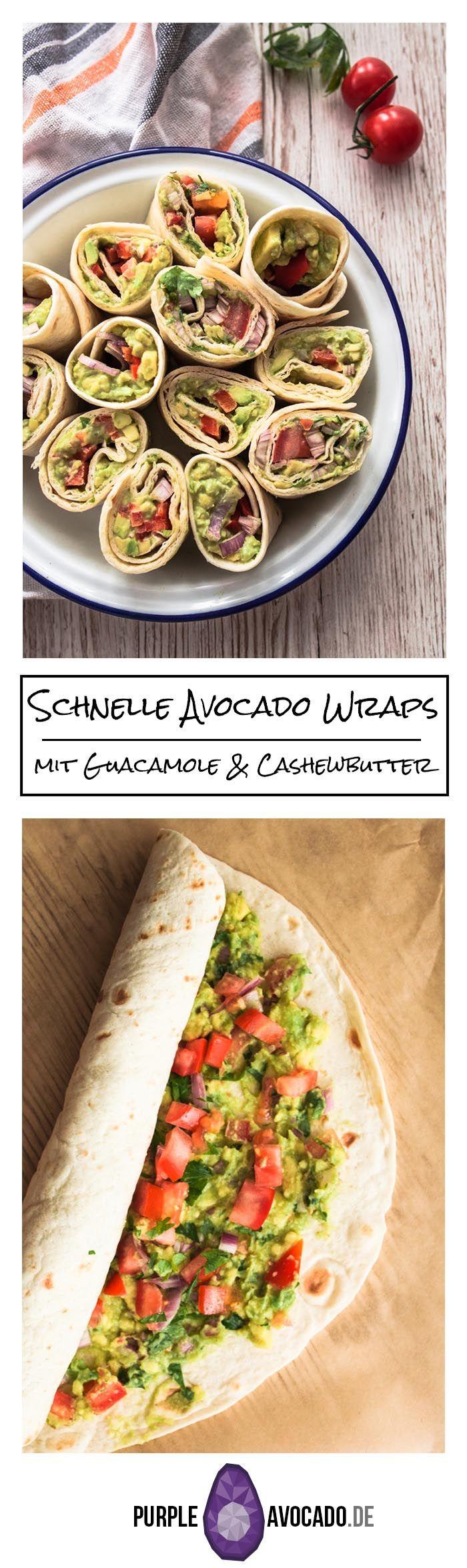 Wenn's mal schnell gehen muss, für Picknicks, unterwegs oder als Fingerfood für den nächsten Serien-Abend: Schnelle Avocado Wraps in zwei Variationen - mit Guacamole und Cashewbutter. Ganz unkompliziert und köstlich. Rezept und Foodfotografie von Purple Avocado / Sabrina Dietz #wraps #sommer #frühling #schnell #faule #foodstyling #foodphotography #rezept #rezepte