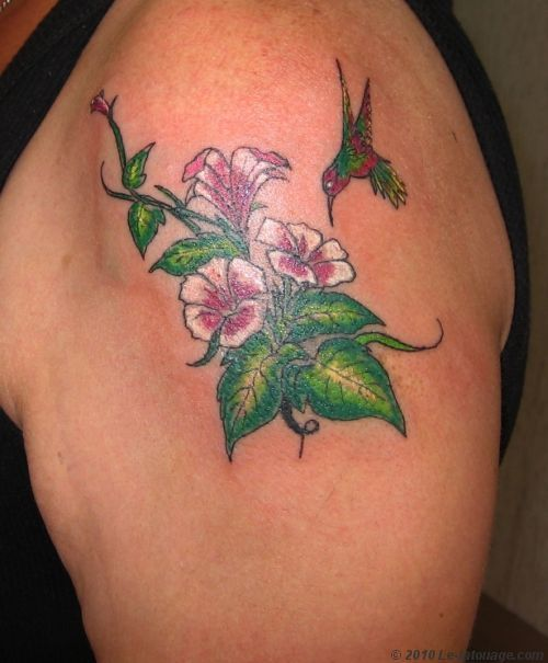 Tatouages colibri butinant une fleur colibri fleur oiseau tatouage pinterest tatouages - Tatouage oiseau epaule ...