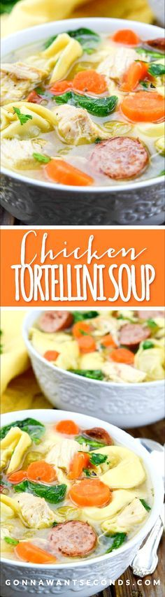 This Chicken Tortellini Soup is the perfect one dish, weeknight dinner. Loaded with juicy chunks of chicken, tender tortellini, veggies and a bit of sausage, this soup is sure to please the entire family! Oh and best news, it can be prepped in less than 30 minutes!