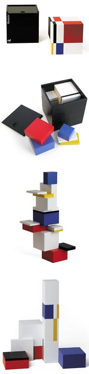 Naef - Modulon Created in 1984 by Jo Niemeyer in Switzerland, the Modulon is a wood block toy divided according to the golden ratio. It looks like part of the De Stijl movement or something that Gerrit Rietveld would design or a 3D Mondrian painting.