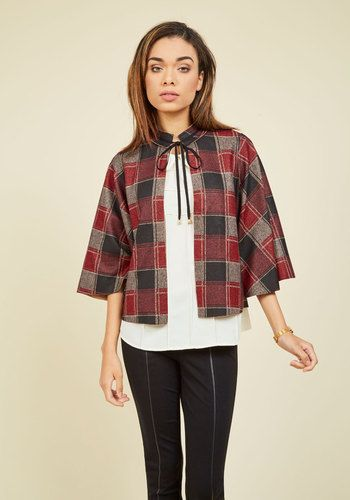 Leeds the Way Plaid Cape - Cotton, Knit, Short, Red, Black, Checkered / Gingham, Print, Work, Casual, Holiday Party, Vintage Inspired, 20s, 60s, 70s, Rustic, Fall, Winter, Good, Saturated, Best Seller, Best Seller, 1
