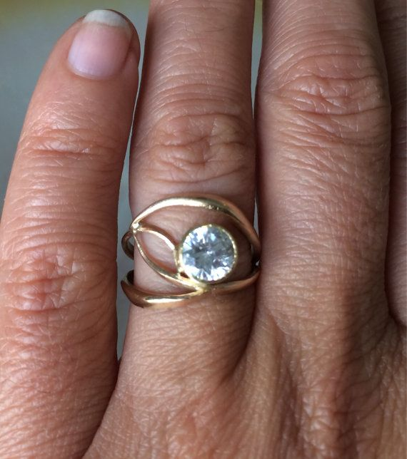 18kt Gold Organic Engagement Ring Recycled by MelissaTysonDesigns