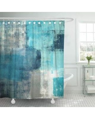 CYNLON CYNLON Teal Gray Contemporary Turquoise and Grey Abstract Painting White Bathroom Decor Bath Shower Curtain 60×72 inch from Walmart | Martha Stewart – Bedroom ideas