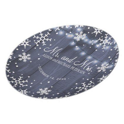 Twinkle lights snowflakes mr and mrs wedding dinner plate - barn wedding gifts template diy customize personalize marriage