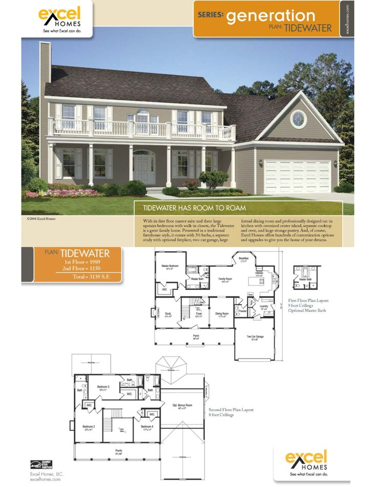 The Tidewater Two Story Home 3139 square feet 4 bedrooms, 4.5 baths For  more information