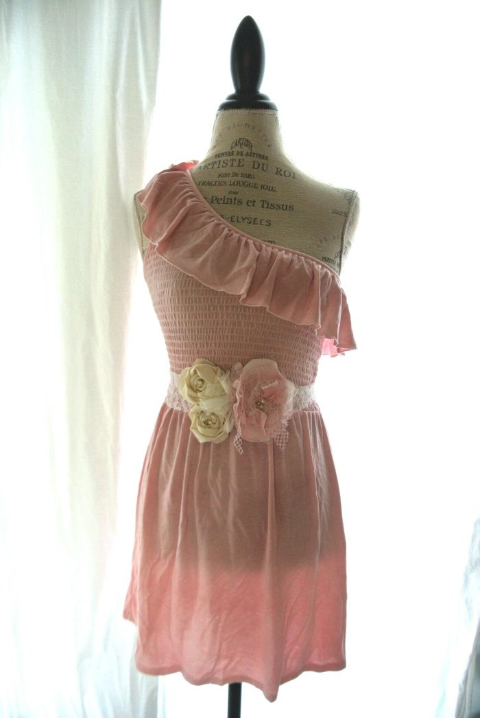 One shoulder ruffle dress, country chic clothing, womens clothing, cottage chic, shabby, rustic, ruffle dress. $68.00, via Etsy.
