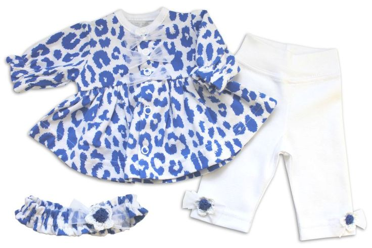 White and blue leopard print swingtop and leggings with matching headband. Available in micro-preemie sizes.