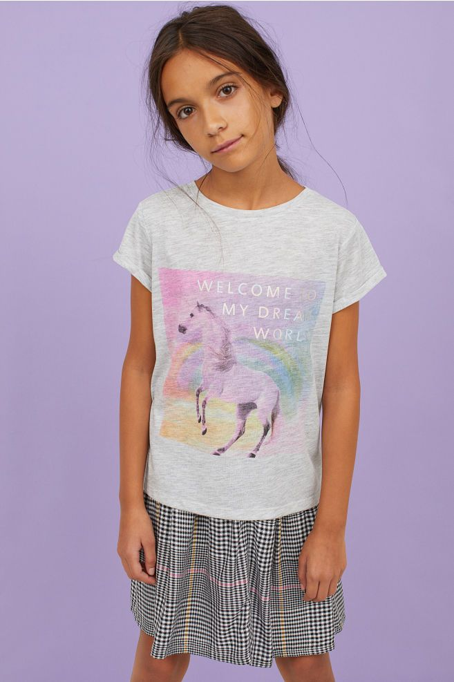 eb35ec48e Shirt with Printed Design - Light gray melange/unicorn - Kids | H&M US 1