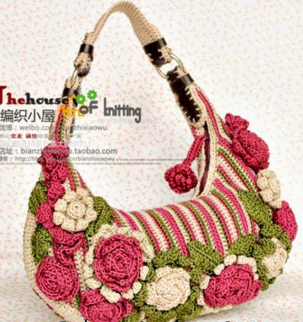 Bolsas em Croche   acessórios em croche     Toda mulher gosta de bolsa e toda mulher gosta de flores .   Que tal unir o  útil ao agradável ...