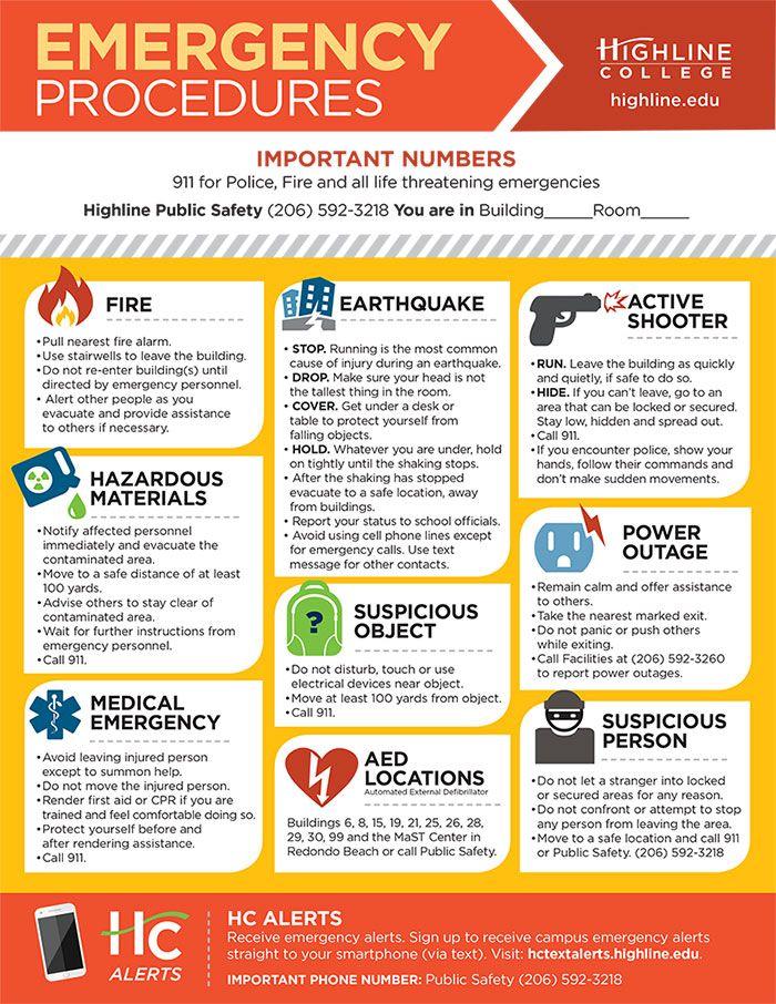 Emergency Procedures Highline.edu Safety infographic