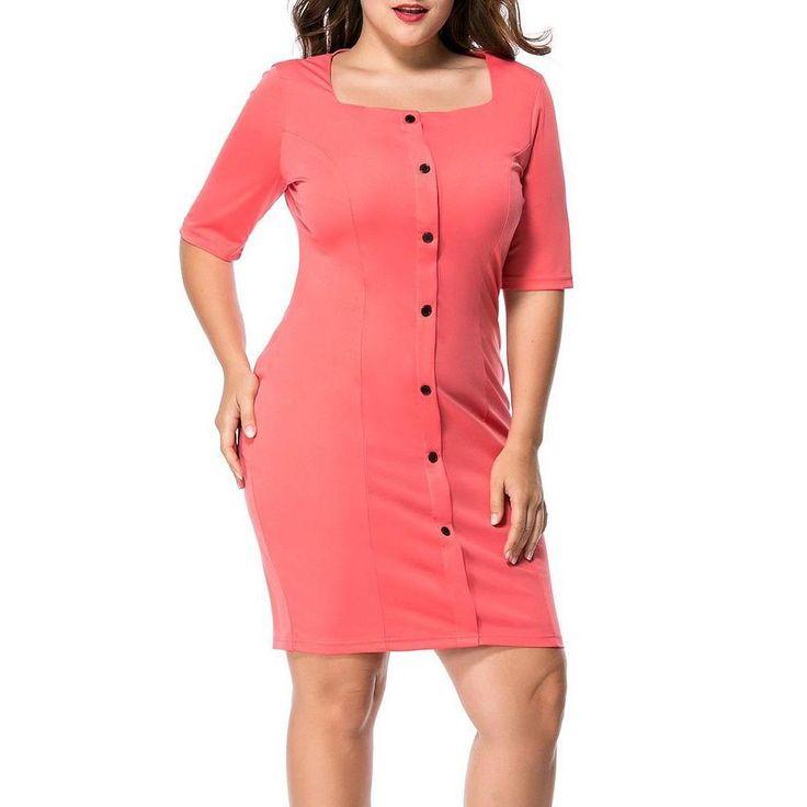 Plus-Size Long Sleeve Loose Stripes Dress