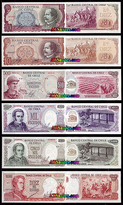 Chile banknotes - Chile paper money catalog and Chilean currency history