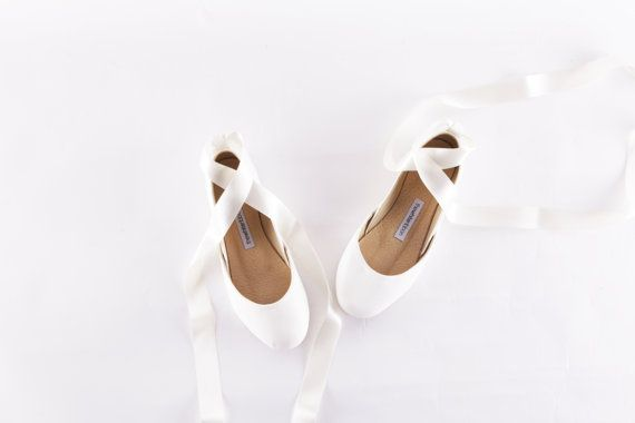 Bridal Ballet Flats | Wedding Shoes | Milk White with Satin Lace...Made to Order