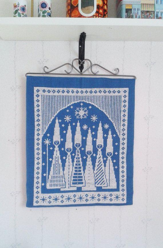 Navidad Sueca vintage tapiz hecho a mano niños por tiendanordica