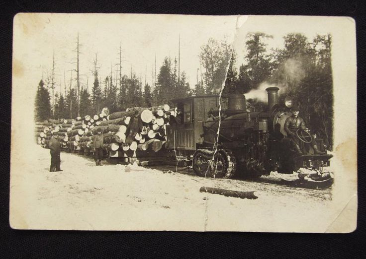 Antique Photo Logger Steam Train on Track Load Logs in Snow