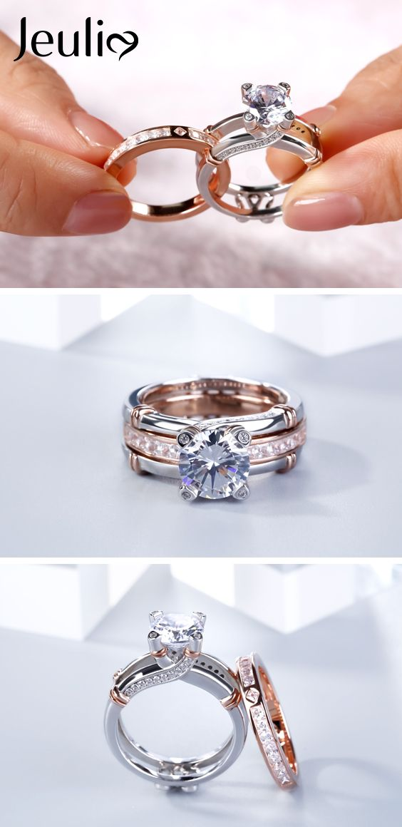 Knot Round Cut Sterling Silver Interchangeable Ring Set. Premium Grade Jewelry. Gift Trend! Mother's Day Gift. / Mom's Day Gift #JeuliaJewelry #Mothersdaygift #WomenFashion