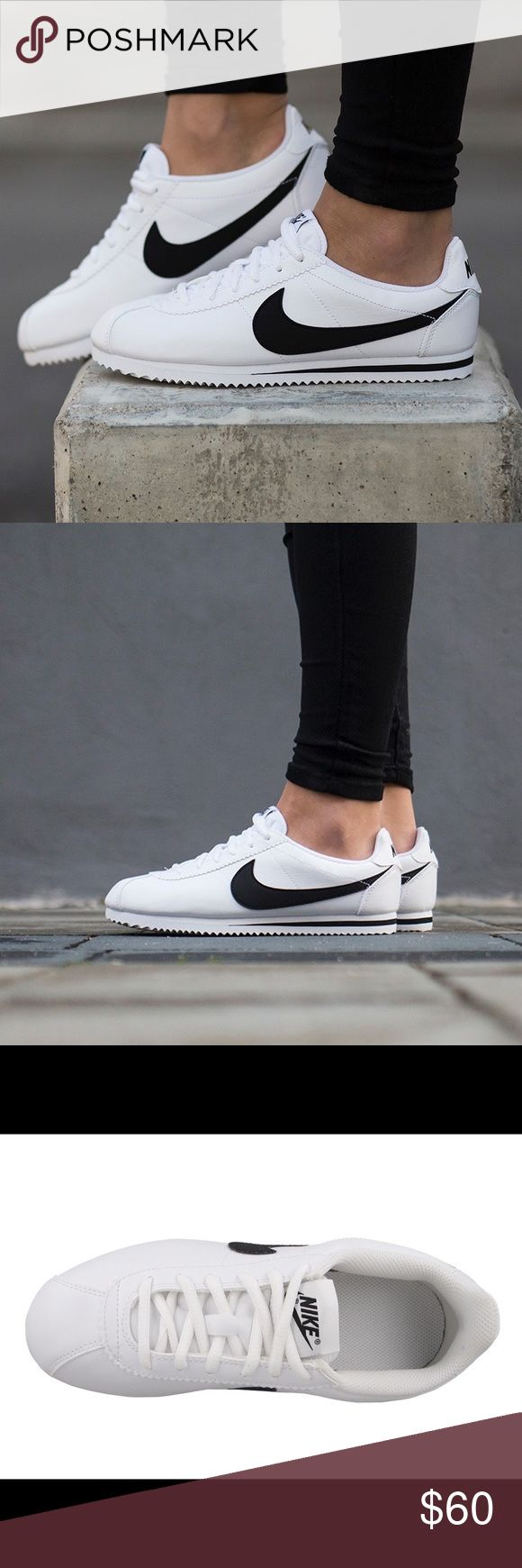NIKE CORTEZ WOMENS WHITE BLACK SHOES Shoes are a size 7 youth. Which is a women's size 8.5. Brand new without box Nike Shoes Sneakers
