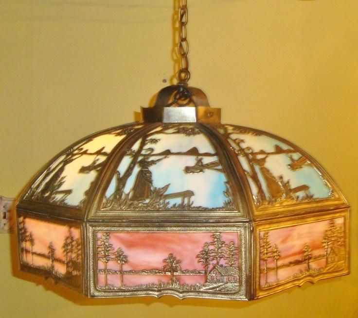 Large Vintage Slag Stained Bent Glass Dome Chandelier