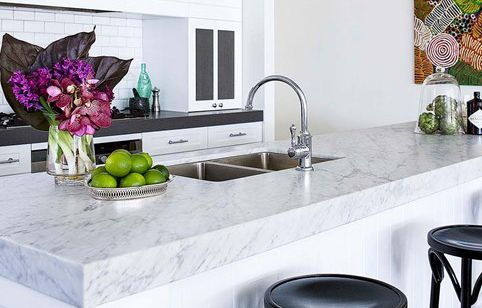 No matter a kitchen's style marble benchtops are always a great addition