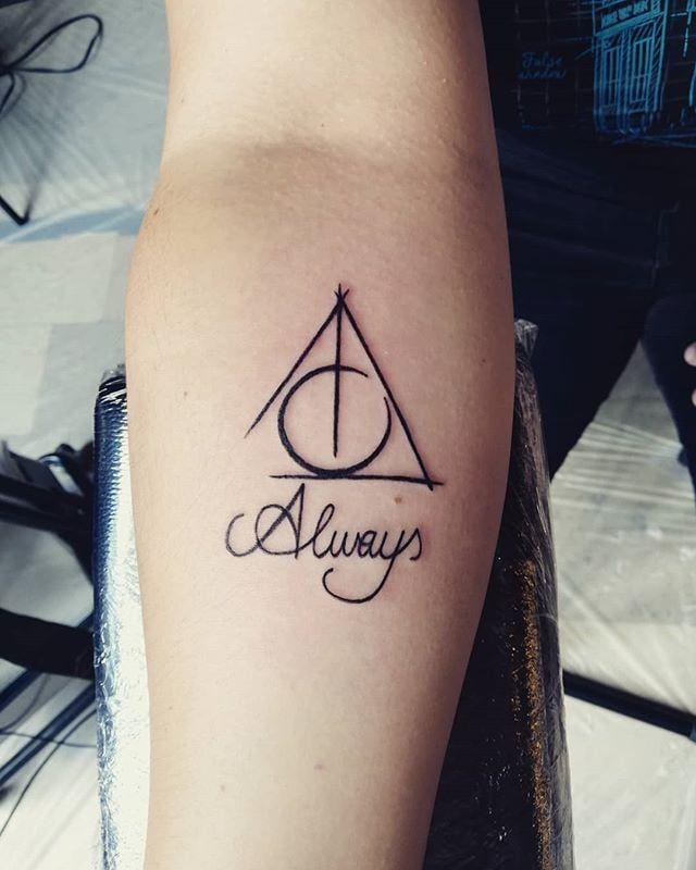 Cursive Always With Deathly Hallows Tiny Harry Potter Tattoos Harry Potter Tattoo Small Harry Potter Tattoos