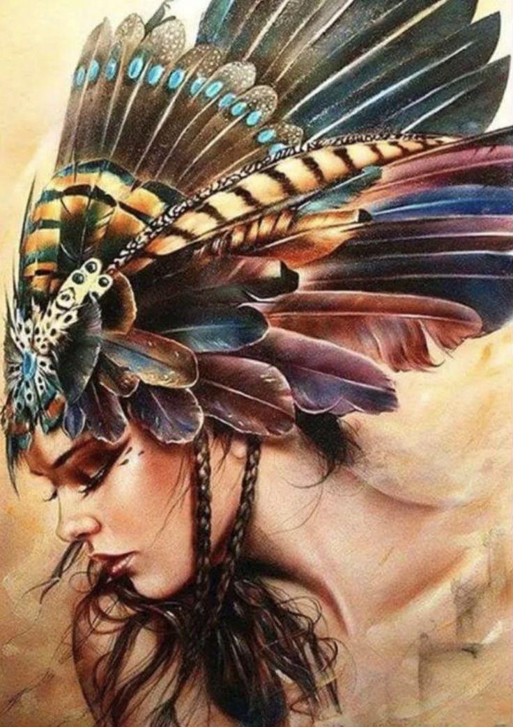 US Seller. 50x40cm. Beautiful Tribal Indian Princess