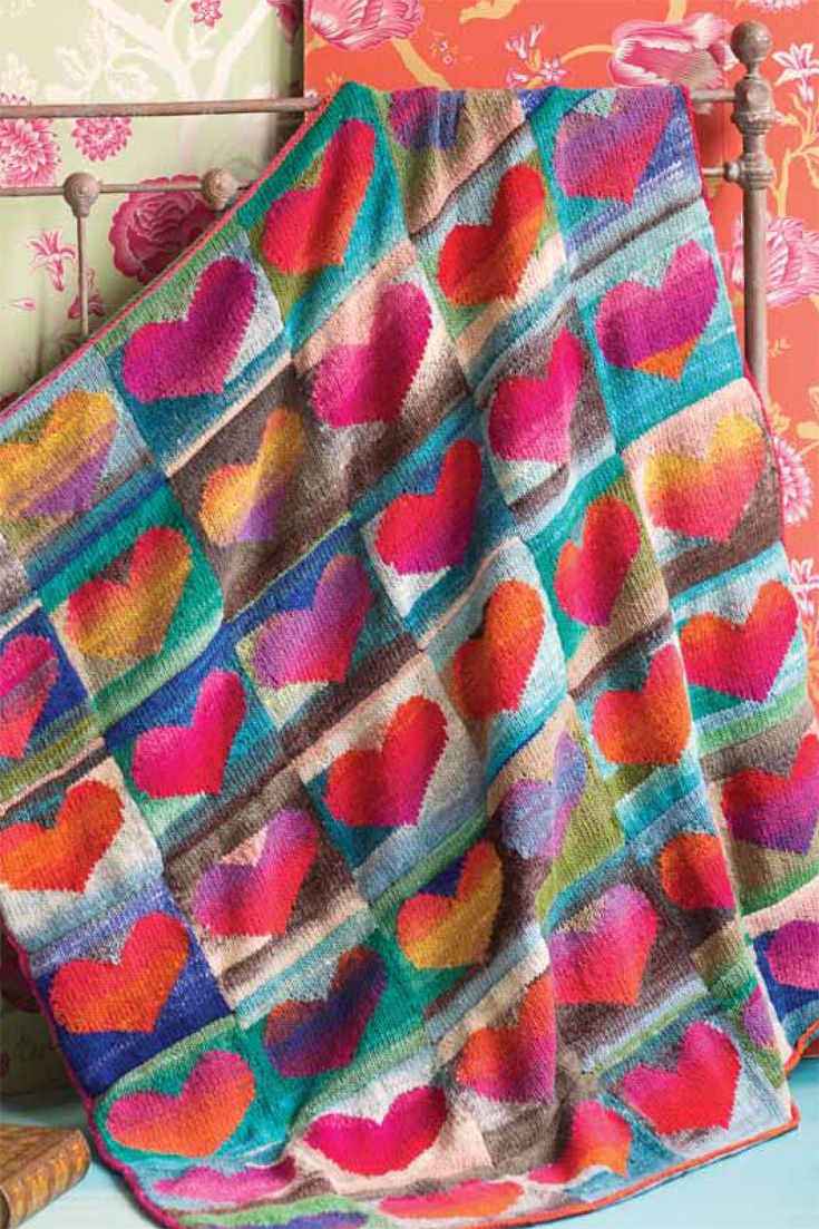 LOVE this Heart Blanket knit with Noro Kureyon. And Knitting Fever is doing a knitalong for it!