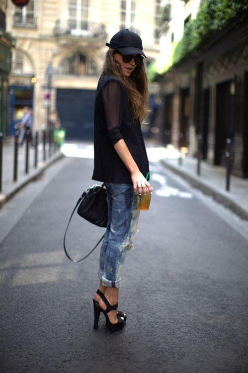 Chiffon black top, ripped boyfriend jeans, black platform sandals, black satchel , black leather baseball cap