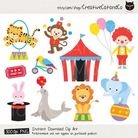 Circus Clipart Clip Art Circus Animal Clipart Clown Clipart Etsy Cute Animal Clipart Animal Clipart Circus Animals