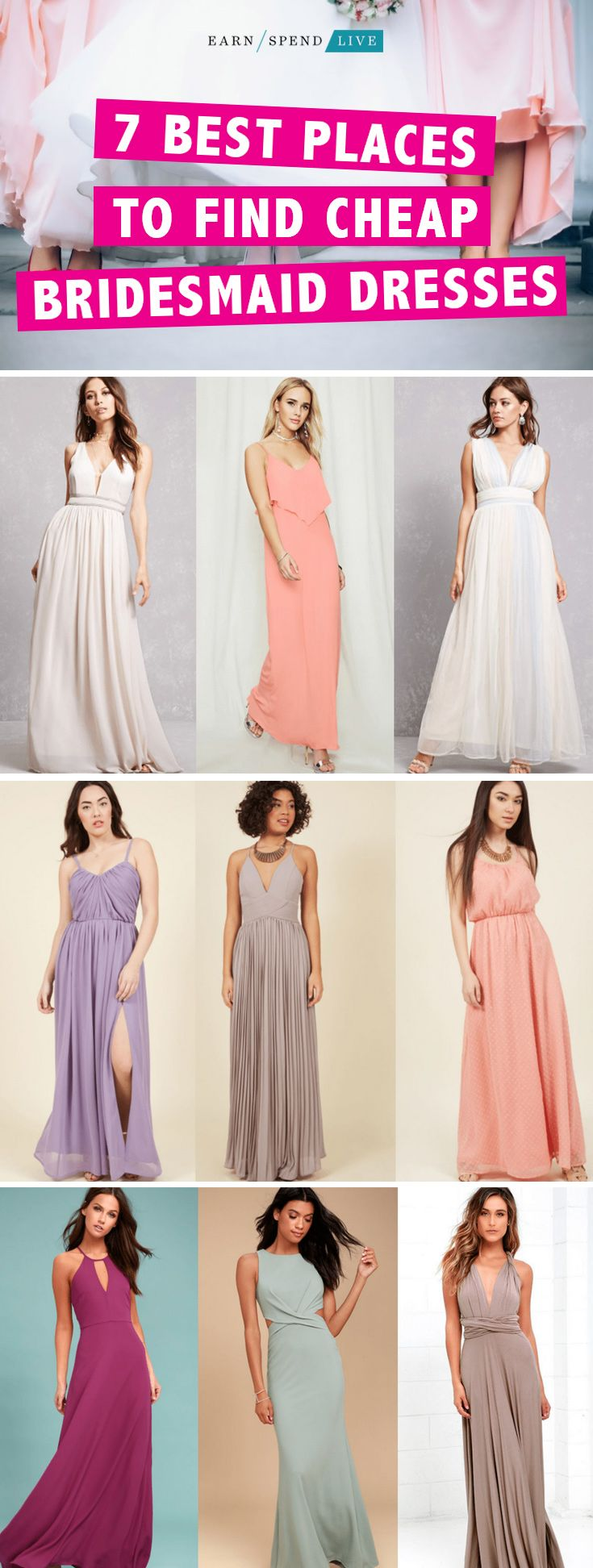 7 Best Places to Find Cheap Bridesmaid Dresses. Bridesmaid dress ideas, affordable bridesmaid dresses, best places to buy bridesmaid dresses, best places to purchase bridesmaid dresses, wedding planning, affordable wedding planning, bridesmaid dresses on a budget, budget bridesmaid dresses