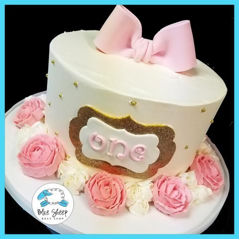 pink and gold roses buttercream 1st birthday cake nj