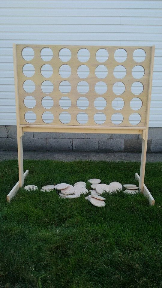 Plain Unfinished Giant Connect Four. The Giant Connect Four game board is made of 1/4 inch plywood, the frame is made from 1x4 and the chips are made from 1/2 inch plywood. The game has a slide out bottom for easy removal of chips to restart the game. All pieces have been sanded smooth and ready for play.  The game is 3 ft. 6 in. wide and stands 4 ft. tall.  Video link to instructions: https://www.facebook.com/pg/hobbywoodcreationsinc/videos/  Local pic...