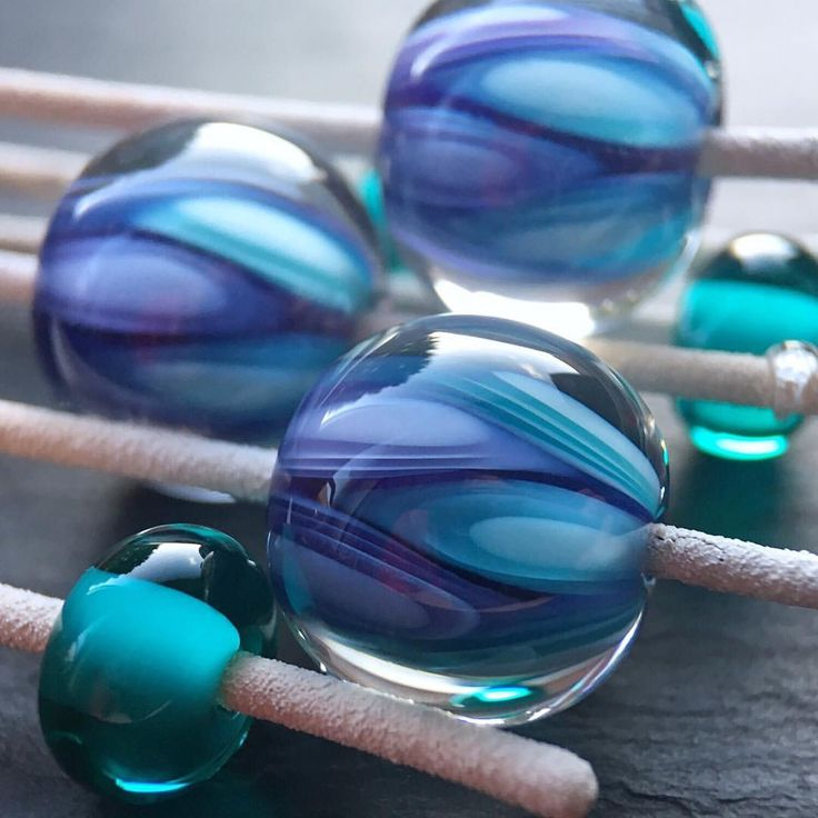 Lampwork glass purple and teal 'Groovy' beads by Laura Sparling  See this Instagram photo by @beadsbylaura • 12 likes