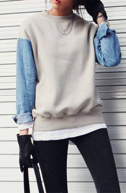 Sweat shirt / denim mix idea....cute