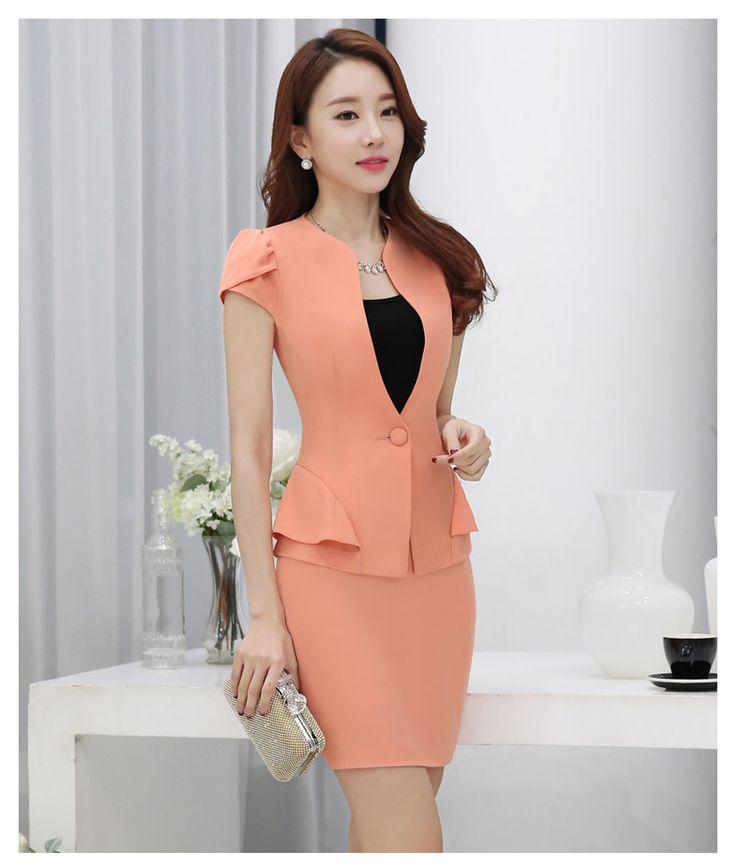 2016 del verano mujeres delgadas de la falda trajes de negocios formales de oficina señoras elegantes de manga corta para chaqueta con falda más tamaño ropa de trabajo en Trajes con Falda de Moda y Complementos Mujer en AliExpress.com | Alibaba Group