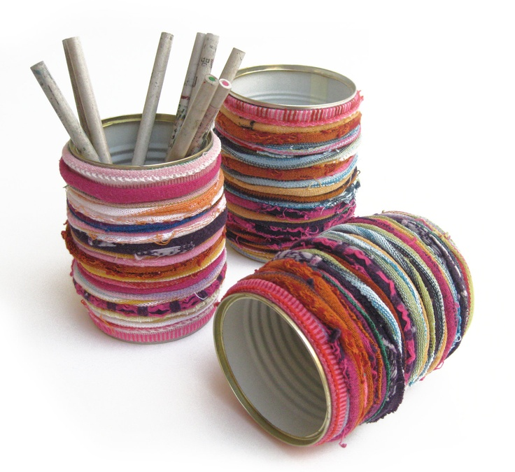 Fabrics covered cozy tin can
