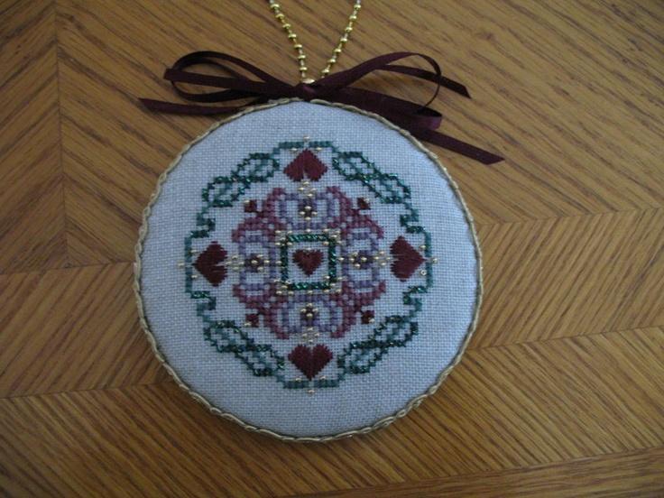 Just Nan design using Kreinik Blending Filament, The Worlds Largest Collection of Smalls, Cross stitch Christmas ornament