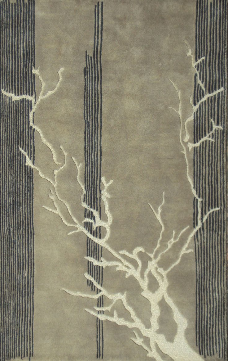 Autumn Branches Gold, Gray Wool and Viscose Floor Rug