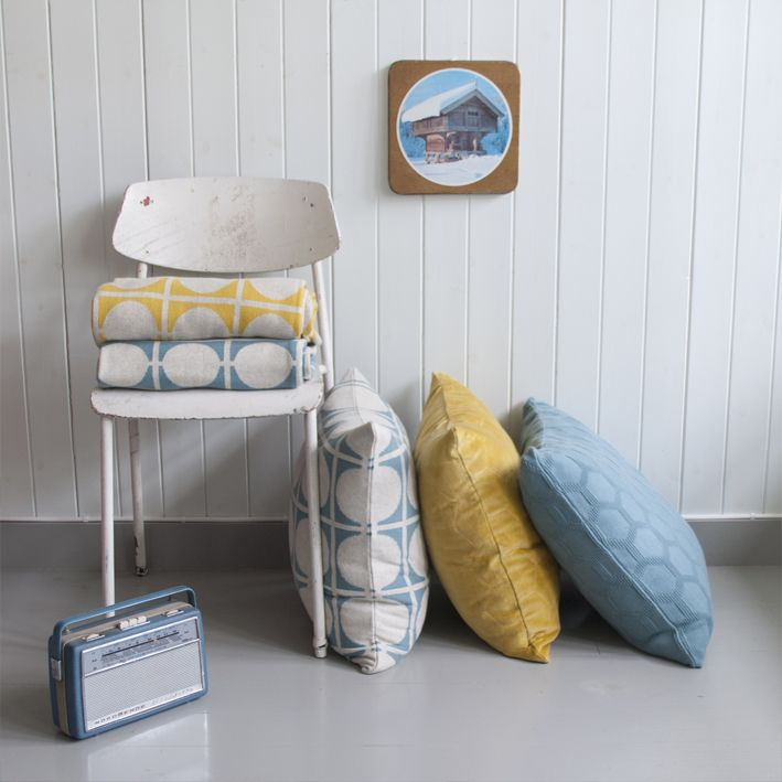FunkyDoris | Don pillows and blanket mixed with Halldis in a yellow lux velvet