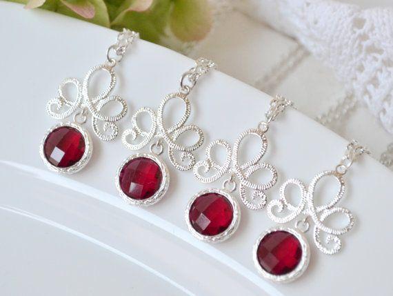 Colliers de demoiselle d'honneur rouge par ArtemisBridalJewelry