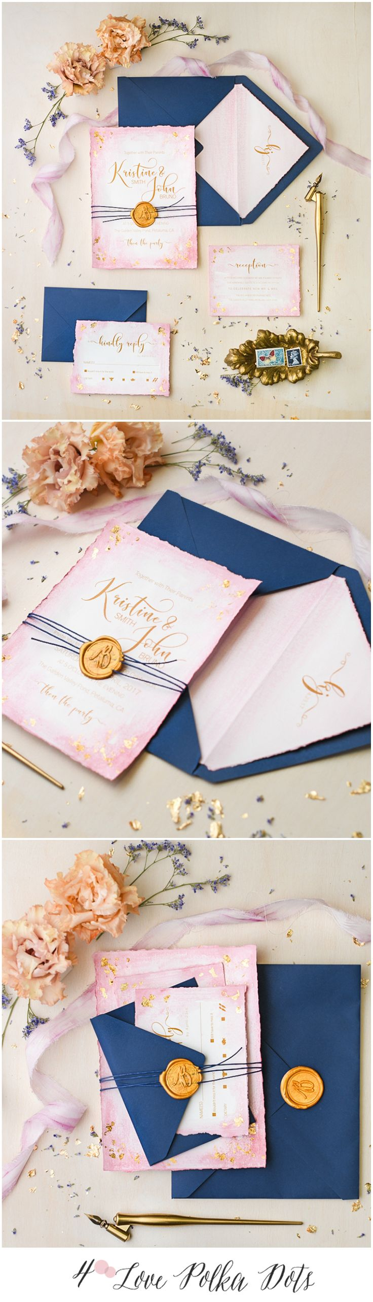 Whimsical rustic Pink & Navy wedding invitations – gold foiled and wax stamped #sponsored