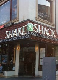 Shake Shack in NYC and DC.  Washington Post recommends the  'Shroom Burger. I recommend the shakes, fries and burgers!