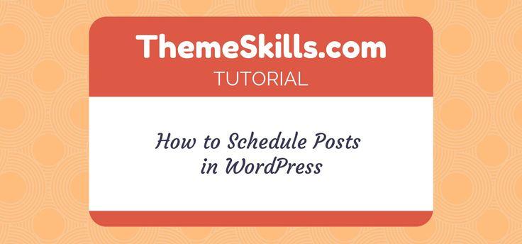 How to Schedule Posts in #WordPress!