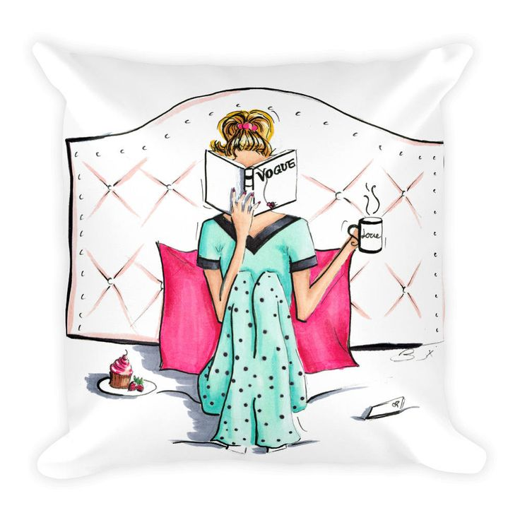 Breakfast in Bed, Vogue Cushion, Home Decor, Lazy Girl Designs, Breakfast at Tiffanys, Decorative Cushions, Throw Pillow, Girl Bedroom Decor ~ Pretty Bow Studio, Brooke Dixon
